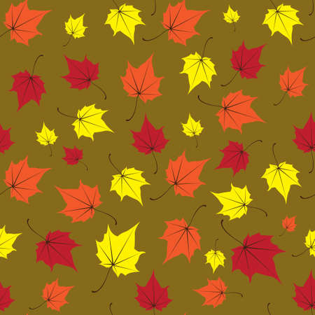 Maple leaves seamless vector green orange art background
