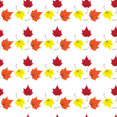 Maple leaves seamless vector white red art background