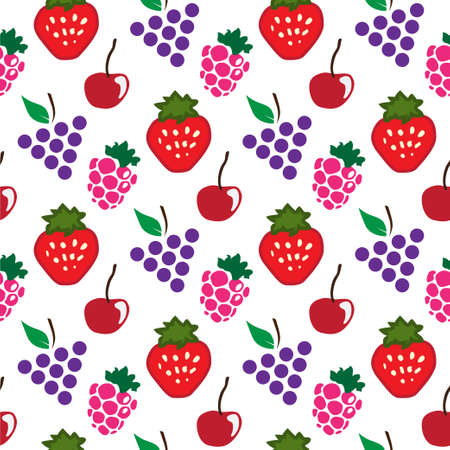 Abstract seamless white red grapes raspberry strawberry background. Vector illustration
