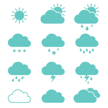 Set of clouds weather icons flat style in vector. Vector illustration