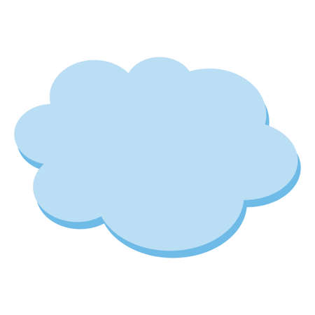 Cloud flat blue simple icon symbol on white. Vector illustration