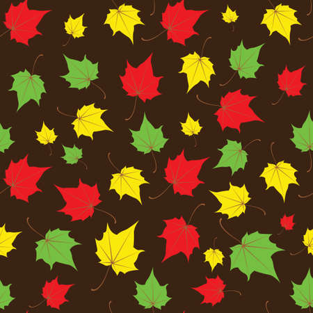Maple leaves seamless vector brown bright art background. Vector illustration Stok Fotoğraf - 126973701