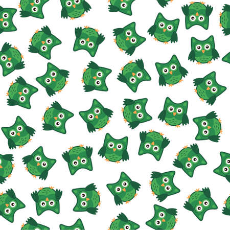 Owl stylized art seemless pattern green white colors. Vector illustration