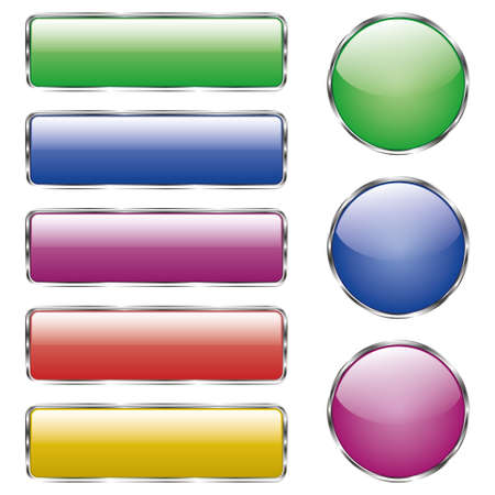 Set of colored shiny web glass button with reflection. Vector illustration