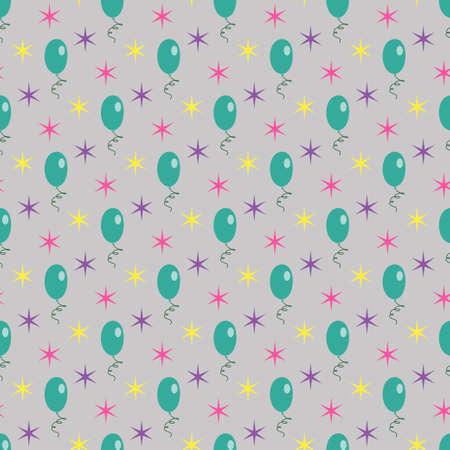 Green air balloons stars seamless gray light pattern. Vector illustration Çizim