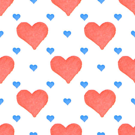 Red and blue hearts seamless watercolor background art pattern