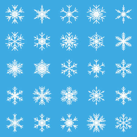 Set of different winter snowflakes. Vector illustration