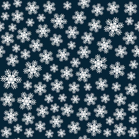 Seamless art pattern with snowflakes on dark blue background. Vector Illustration
