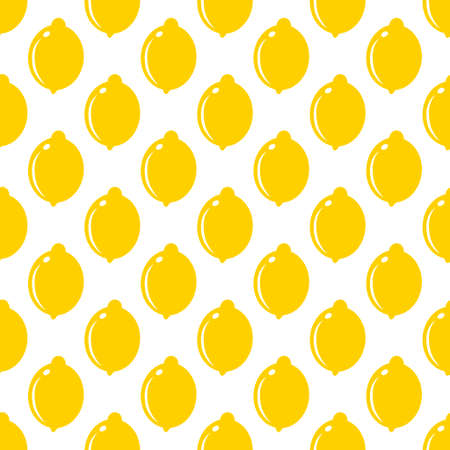 Lemon whole fruit seamless art on white pattern background. Vector illustration Stok Fotoğraf - 126019828