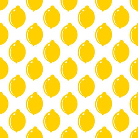 Lemon whole fruit seamless art on white pattern background. Vector illustration