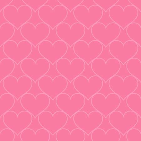 Pink hearts love seamless background pattern, Valentine day Ilustração