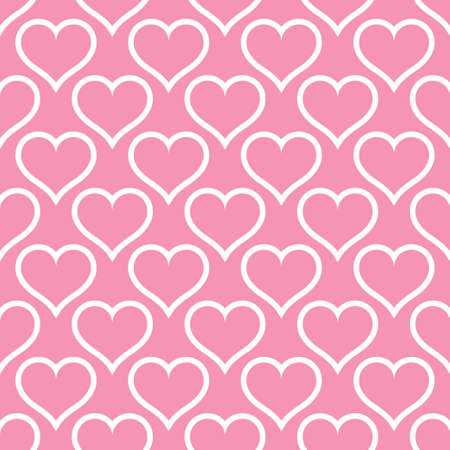Pink hearts love seamless background pattern, Valentine day. Vector illustration