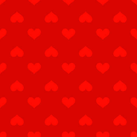 Red hearts love seamless background pattern, Valentine day. Vector illustration Çizim