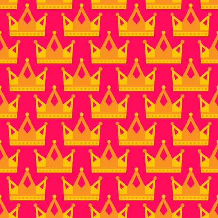 Seamless gold crown pattern background bright pink yellow. Vector illustration Çizim