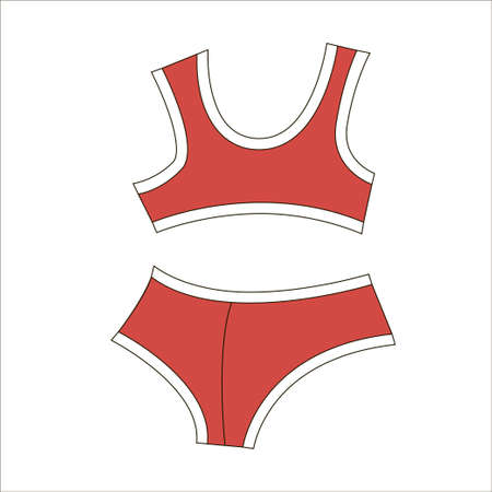 Woman bra fashion summer red swimsuit isolated icon Çizim
