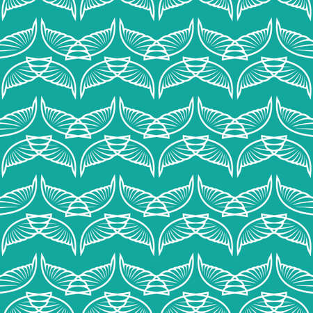 Angel wings blue green art seamless sketch pattern. Vector illustration Stok Fotoğraf - 125902722