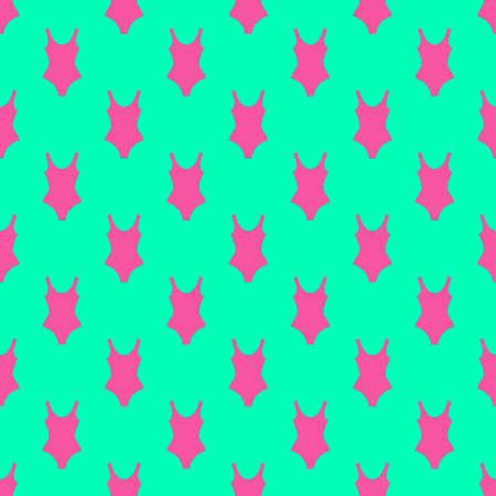 Woman fashion summer swimsuit green pink seamless background pattern Çizim