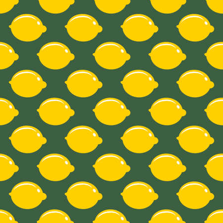 Lemon whole fruit seamless art on green pattern background Stok Fotoğraf - 125447760