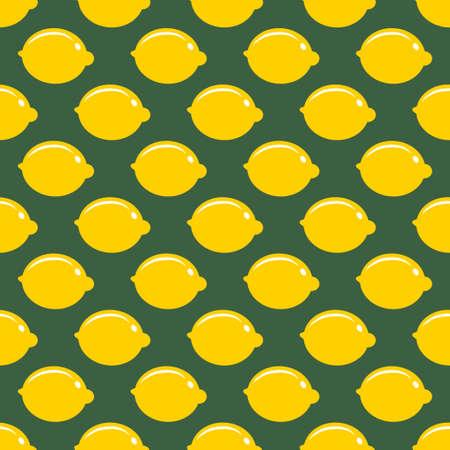 Lemon whole fruit seamless art on green pattern background Çizim