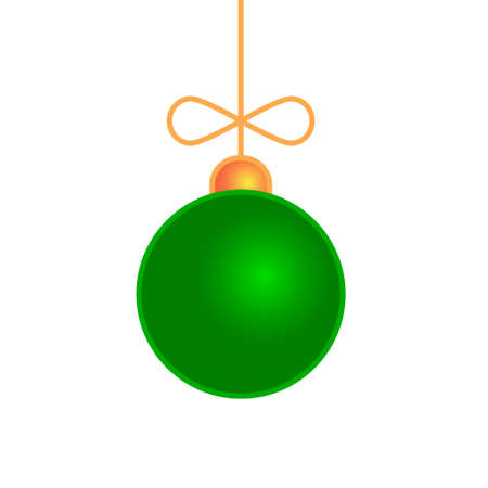 Merry Christmas ball toy isolated on white. Vector illustration
