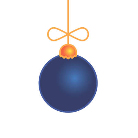 Merry Christmas blue ball toy isolated on white. Vector illustration