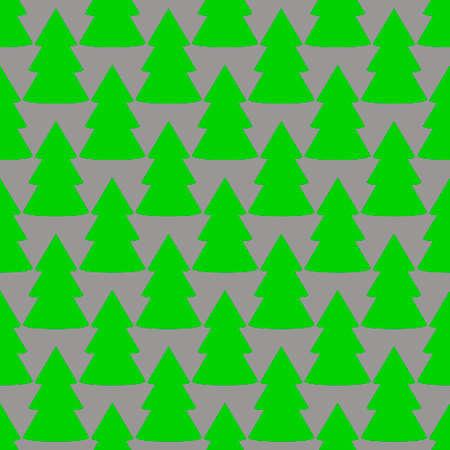 Christmas fir tree green gray art seamless pattern