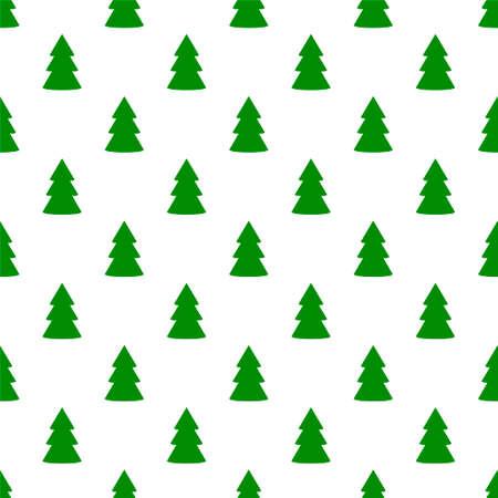 Christmas fir tree green art seamless pattern on white. Vector illustration