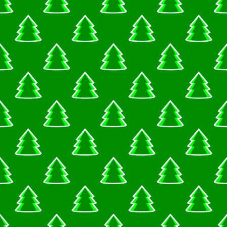Christmas fir tree green art seamless pattern. Vector illustration Çizim