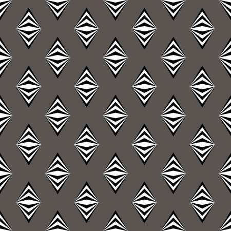 Simple black white gray pattern background with rombs. Vector Illustration.
