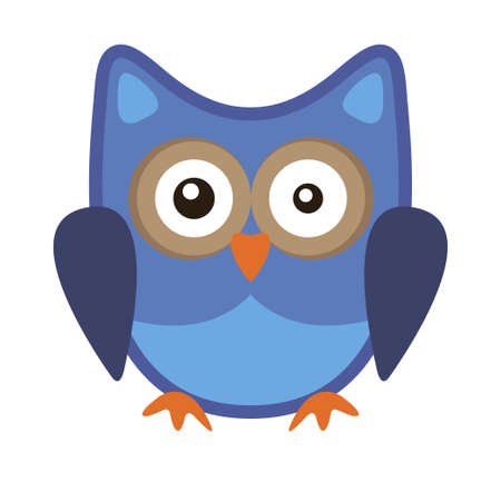 Owl funny stylized icon symbol blue colors Stok Fotoğraf - 125447769