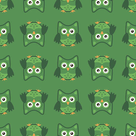 Owl stylized art seemless pattern green colors. Vector illustration