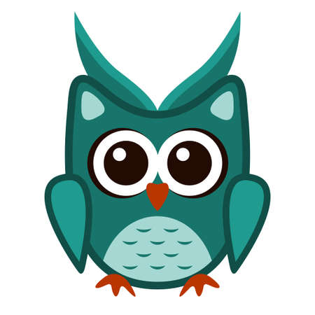 Owl funny stylized icon symbol green colors Çizim