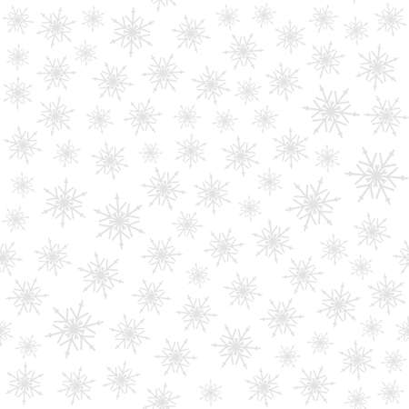 Seamless new year pattern with snowflakes on white. Vector Illustration