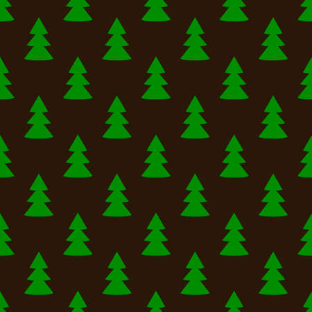 Christmas fir tree green dark art seamless pattern. Vector illustration Stock Illustratie
