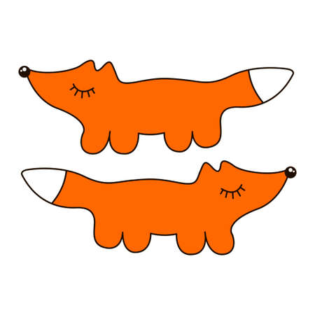Funny fox sign cartoon icon in curve lines. Vector illustration Stock Illustratie