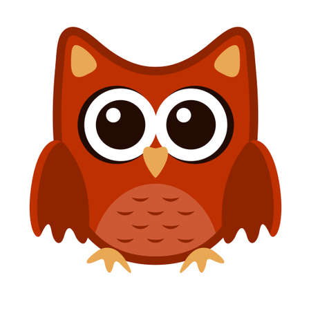 Owl funny stylized icon symbol brown orange colors