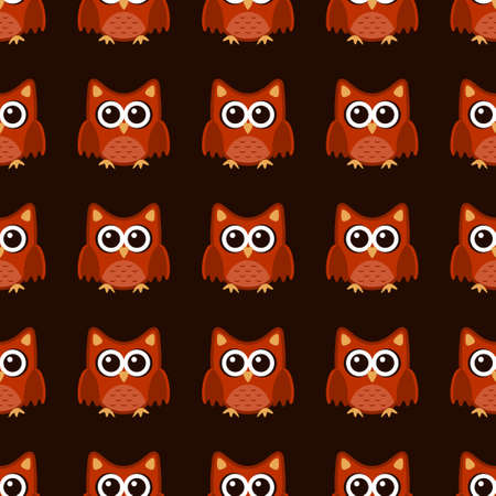Owl stylized art seemless pattern brown orange colors. Vector illustration Stock Illustratie