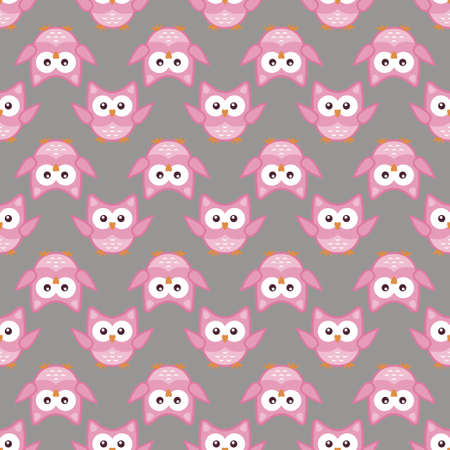 Owl stylized art seemless pattern pink gray colors. Vector illustration