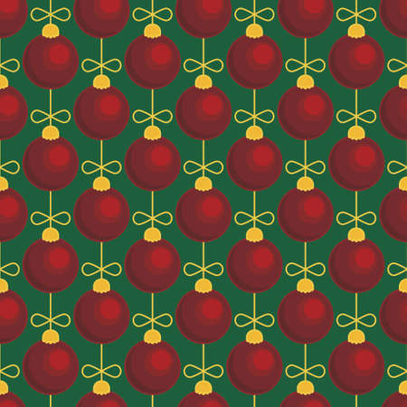 Merry Christmas tree toy ball seamless pattern. Vector illustration Stock Illustratie