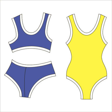 Woman bra fashion summer blue yellow swimsuit isolated icon Çizim