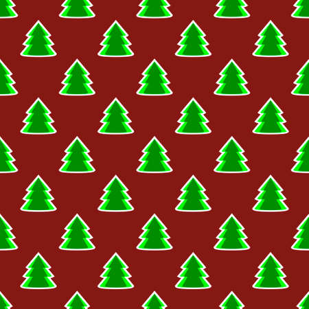 Christmas fir tree green dark red art seamless pattern. Vector illustration