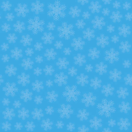 Seamless art pattern with snowflakes on blue background. Vector Illustration