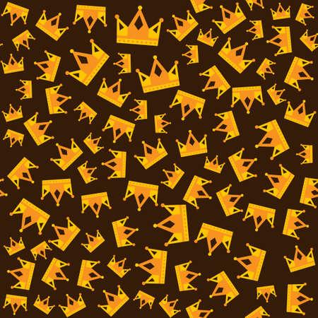 Seamless gold crown pattern dark background. Vector illustration
