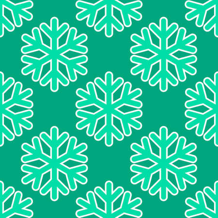 Seamless art pattern with snowflakes on blue green background. Vector Illustration Stock Illustratie