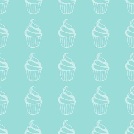 Mint cream cake seamless green pattern. Vector illustration