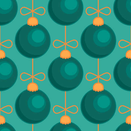 Merry Christmas tree toy ball green blue seamless pattern. Vector illustration
