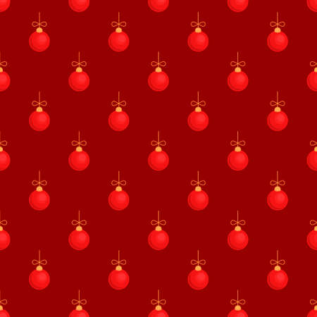 Merry Christmas tree toy ball red seamless pattern. Vector illustration Çizim