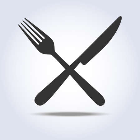Fork knife sign simple icon in gray colors