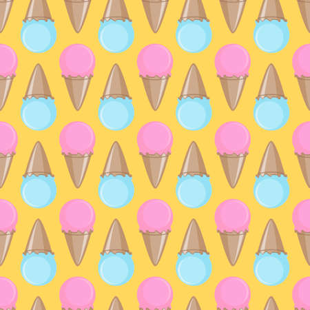 Ice cream cone seamless pink yellow blue pattern background. Vector illustration