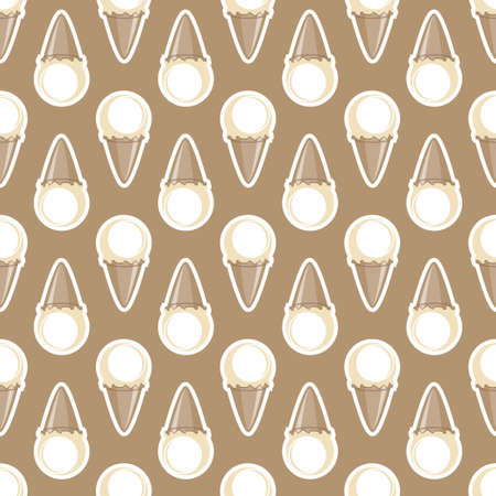 Ice cream choco cone beige white seamless pattern background. Vector illustration Stock Illustratie